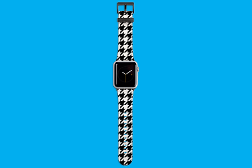 Black and White Houndstooth Apple Watch Strap