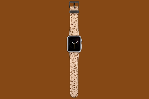 White Chocolate Music Notes Apple Watch Strap
