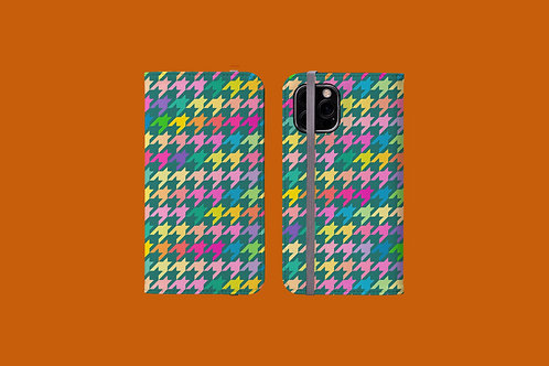Pastel Rainbow and Green Houndstooth iPhone Folio Wallet Case