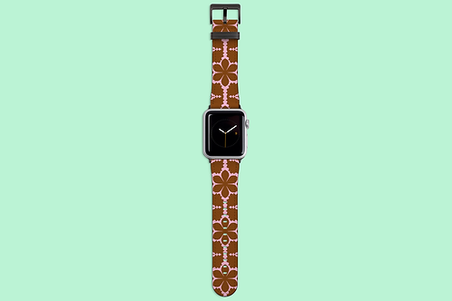 Pink and Tan Flowers Apple Watch Strap