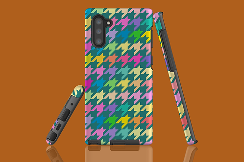 Pastel Rainbow and Green Houndstooth Samsung Galaxy Case