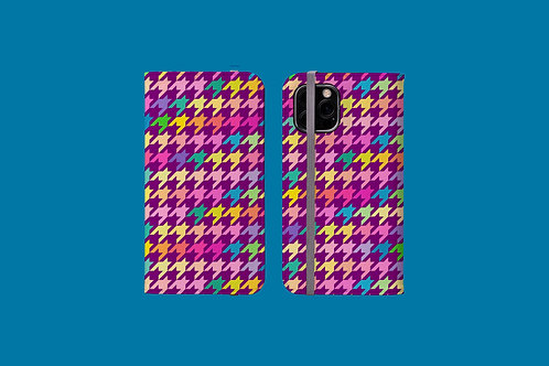 Pastel Rainbow and Purple Houndstooth iPhone Folio Wallet Case