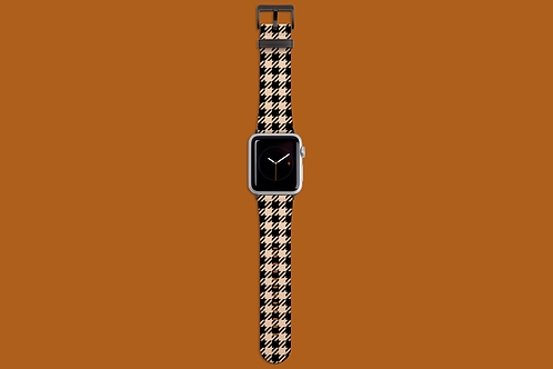 Black and Nude Houndstooth Apple Watch Strap