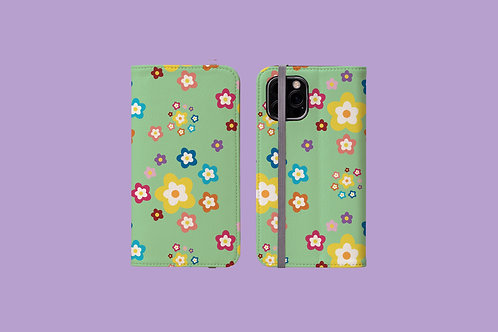 Colourful Flowers on Green iPhone Folio Wallet Case