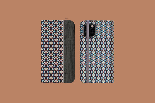 Floral Geometric Wood Grain iPhone Folio Wallet Case