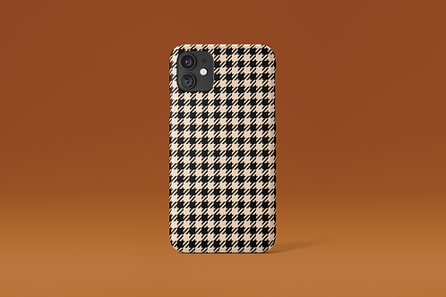 Black and Nude Houndstooth iPhone Case