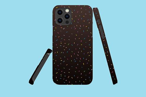 Rainbow Sprinkles on Dark Gradient iPhone Case