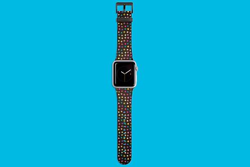 Rainbow Stars on Dark Gradient Apple Watch Strap