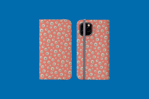 Daisies on Coral iPhone Folio Wallet Case