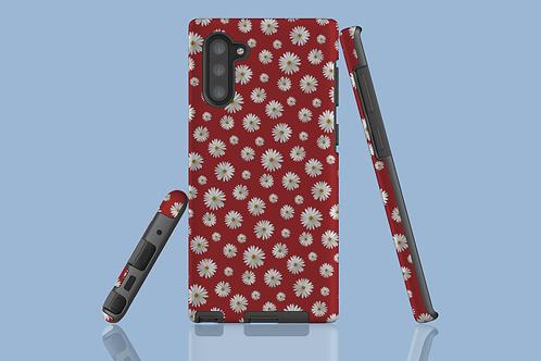 Daisies on Dark Red Samsung Galaxy Case
