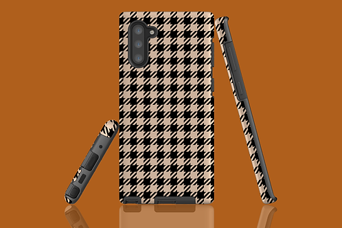 Black and Nude Houndstooth Samsung Galaxy Case