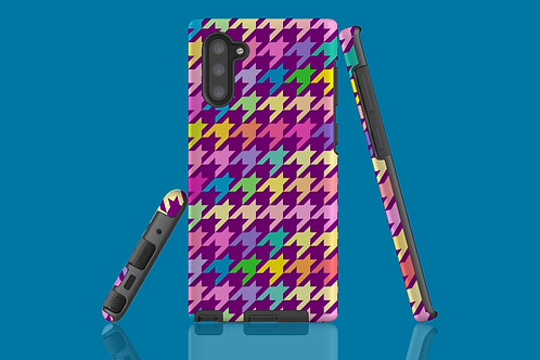 Pastel Rainbow and Purple Houndstooth Samsung Galaxy Case