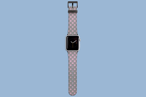 Pink and Grey Floral Geometric Apple Watch Strap