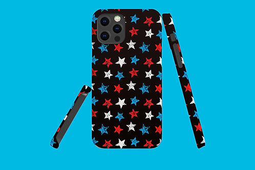 Red, White and Blue Stars on Dark Gradient iPhone Case