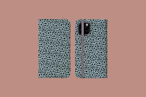 Black Pattern on Light Blue iPhone Folio Wallet Case