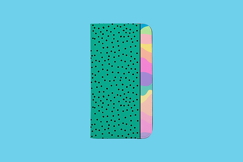 Pastel Rainbow Green Black Dots iPhone Folio Wallet Case