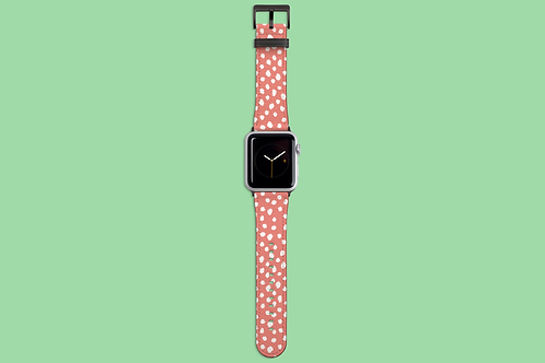 White Dawbs on Coral Apple Watch Strap