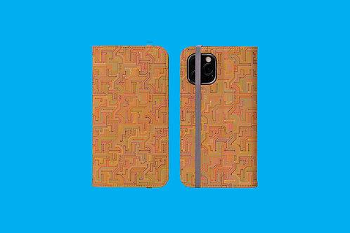 Circuit Board Tan iPhone Folio Wallet Case