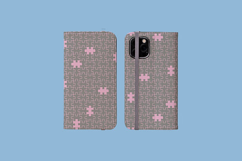 Pink and Grey Jigsaw iPhone Folio Wallet Case