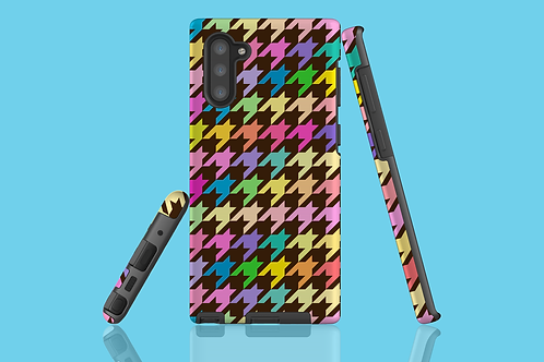 Pastel Rainbow and Brown Houndstooth Samsung Galaxy Case