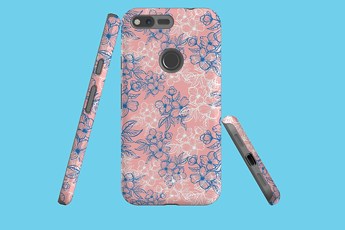 Blue and White Flower Outlines on Pink Google Pixel Case