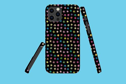 Rainbow Stars on Black iPhone Case