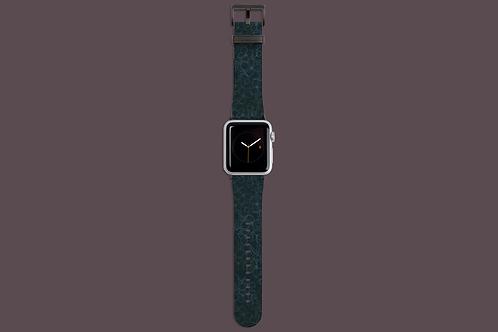 Black Flower Outlines on Dark Green Apple Watch Strap