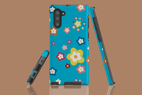 Colourful Flowers on Blue Samsung Galaxy Case