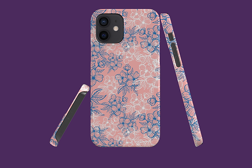 Blue and White Flower Outlines on Pink iPhone Case