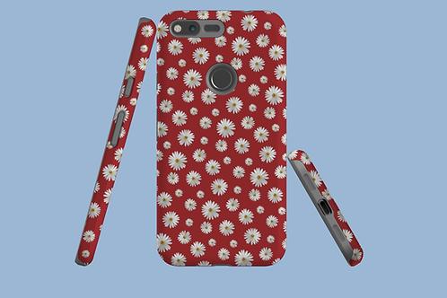Daisies on Dark Red Google Pixel Case