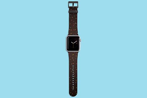 Rainbow Sprinkles on Dark Gradient Apple Watch Strap