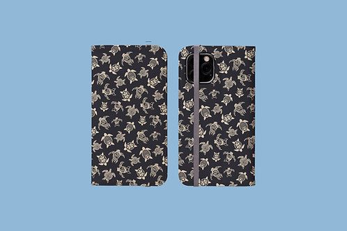 Sea Turtles Dark iPhone Folio Wallet Case
