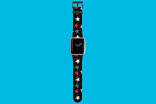 Red, White and Blue Stars on Dark Gradient Apple Watch Strap
