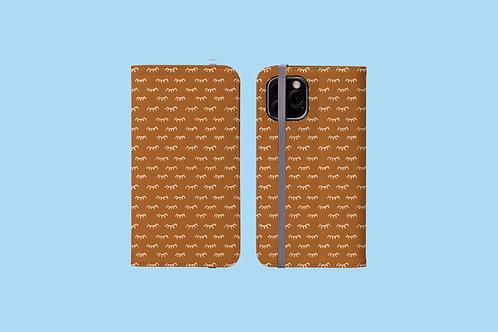 Tangerine Eyelashes iPhone Folio Wallet Case