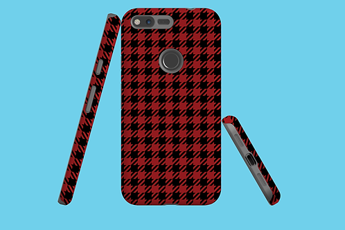 Red and Black Houndstooth Google Pixel Case
