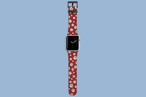 Daisies on Dark Red Apple Watch Strap