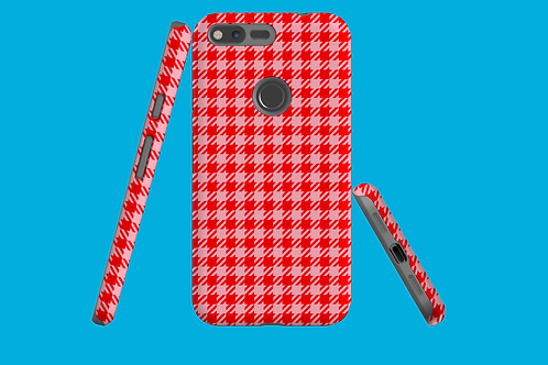 Red and Pink Houndstooth Google Pixel Case