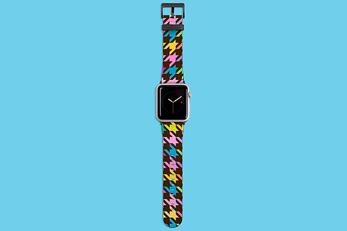 Pastel Rainbow and Brown Houndstooth Apple Watch Strap