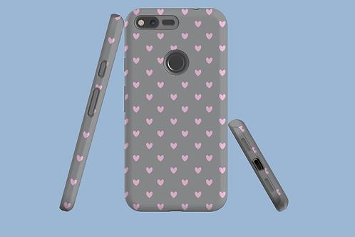Pink Hearts on Grey Google Pixel Case