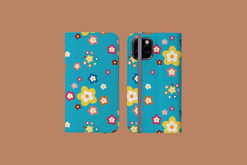 Colourful Flowers on Blue iPhone Folio Wallet Case