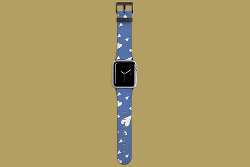 Scattered Hearts China Blue Apple Watch Strap
