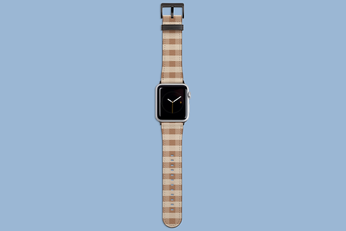 Coffee and Cream Plaid Apple Watch Strap