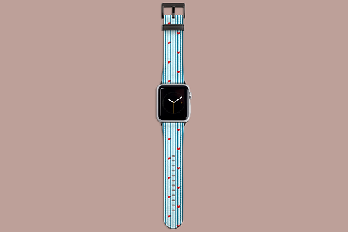 Hearts on Blue Pinstripes Apple Watch Strap