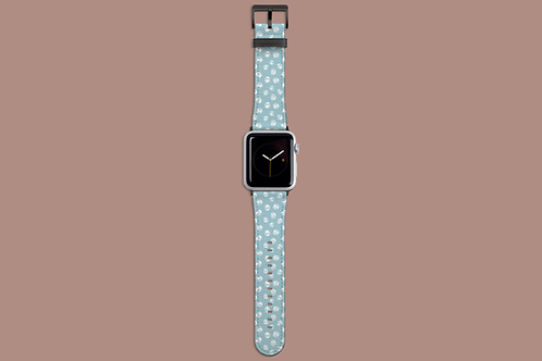 Abstract White Roses on Icy Blue Apple Watch Strap