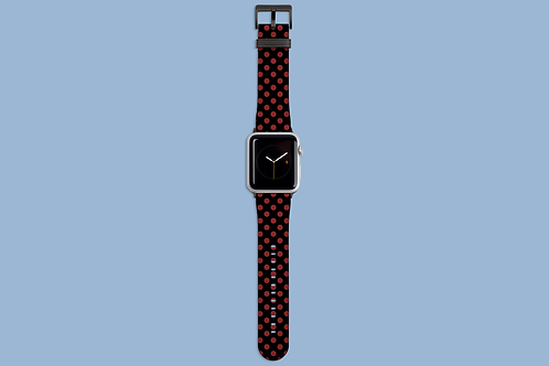 Red Polka Dots on Black Apple Watch Strap