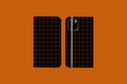 Black and Tan Houndstooth iPhone Folio Wallet Case