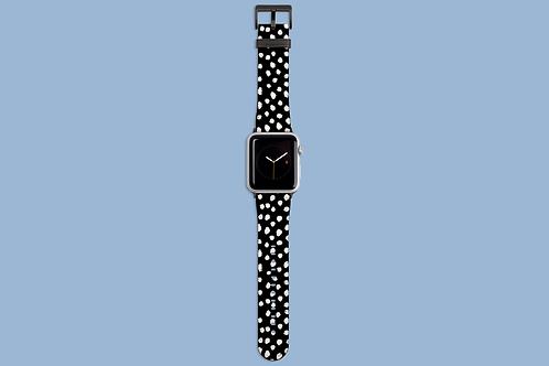 White Dawbs on Black Apple Watch Strap