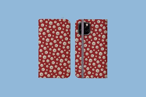 Daisies on Dark Red iPhone Folio Wallet Case