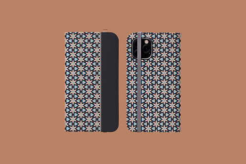 Floral Geometric Dark Panel iPhone Folio Wallet Case