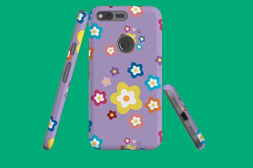 Colourful Flowers on Purple Google Pixel Case